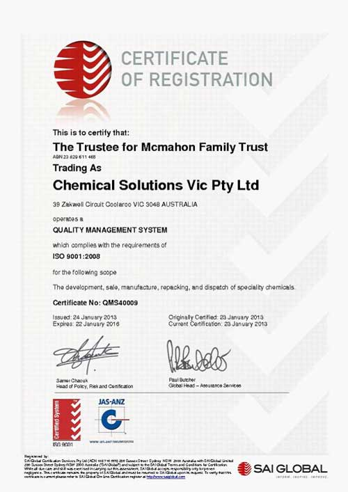 Chemical Solutions now ISO Certified